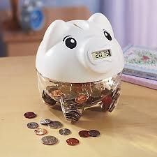 Lily's Home SW448 Digital Piggy Coin Counting Bank, 5 1/2 x 6 1/4 x 6-Inch, White - 1