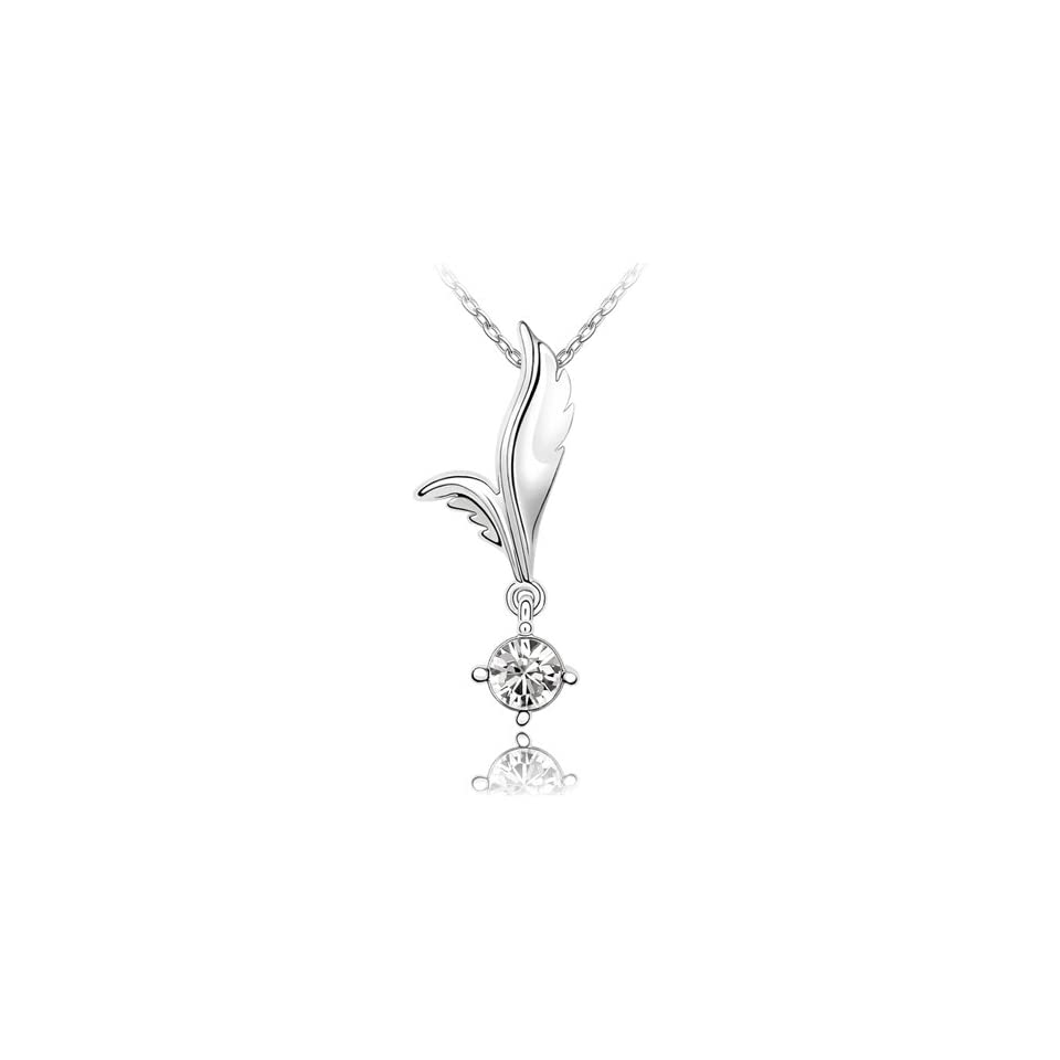 Clear Crystal Leaf Drop Pendant Necklace, 18K White Gold Plated, Cubic Zirconia Stone, 18 Inch Gold Plated Chain