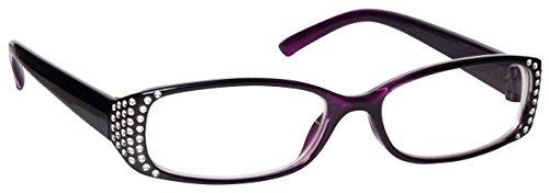 La Compañía Gafas De Lectura Negro y púrpura Diamonte Estilo Distancia Gafas de Miopía Mujeres Señoras UVM093P Dioptria -1,00