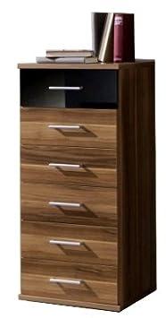 Commode étroite de tiroirs-Noyer et noir-6tiroirs avec tiroir haut en couleur contrastée Noir brillant-Fabriqué en Allemagne qualité-Emballage à plat pour un Assembla