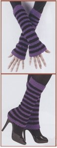 80s Fuzzy Leg Warmers (or Arm Warmers) (Purple/Black) Adult Accessory