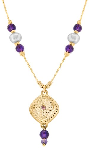 9ct Yellow Gold Square Amethyst Set Pendant with Pearl and Purple Crystal Chain Necklace 43cm/17