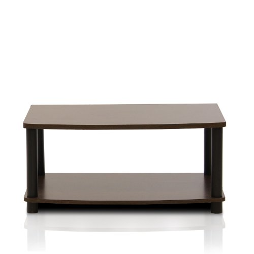 FURINNO Turn-N-Tube No Tools 2-Tier Elevated TV Stand, Dark Brown/Black