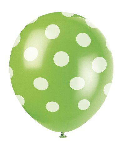 "12"" Latex Lime Green Polka Dot Balloons, 6ct - 1"