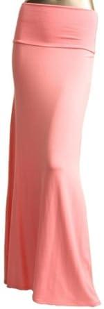 Azules Women's Rayon Span Maxi Skirt Coral Pink large