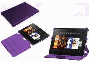 NAVITECH - Housse à rabat en cuir bycast Violet avec stand à angles multiples, fonction réveil/sommeil automatique Kindle Fire HD 8.9