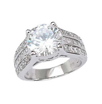 Sterling Silver Rhodium Engagement Ring with Clear CZ - Size: 6-9, 9