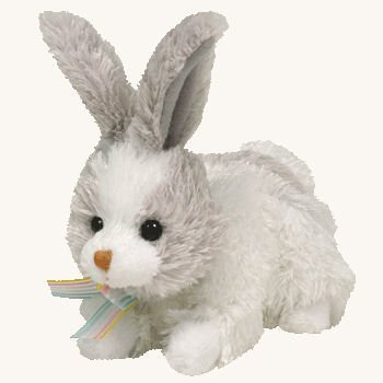 Ty Basket Beanie Baby - Hobsy The Silver Gray & White Bunny back-1059198