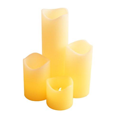 Innoo Tech Pack de 4 Velas LED Decorativas con Luz y Amarillo Cálido Velas de Cera Real con Mando y Batería para Fiesta Navidad[Clase de eficiencia energética A+]