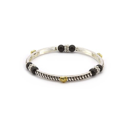 Magnetic Hematite Healing Stretch Bracelet with Gold Plated Heart Decor