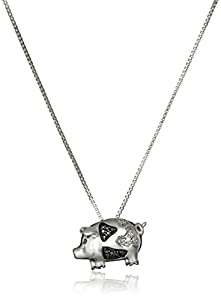 Sterling Silver Black and White Diamond Accent Pig Pendant Necklace