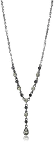 1928 Jewelry Jet and Black Crystal Tone Y-Drop Necklace