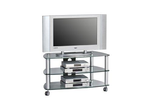 MAJA-Möbel 1610 9499 TV-Rack  Metall Alu - Klarglas  Abmessungen BxHxT  95 x 52 8 x 51 4 cm