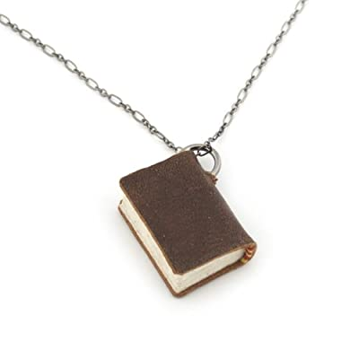 Book Charm Necklace by Peg and Awl - Large, Gunmetal