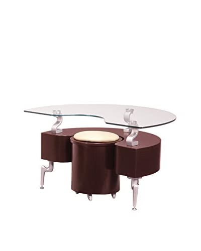 Luxury Home End Table, Mahogany/Cappuccino