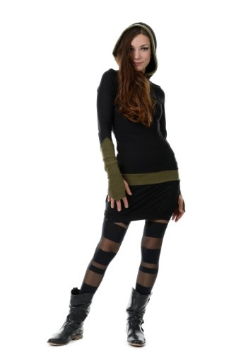 3Elfen Hoodie dress winter black fleece gauntlets