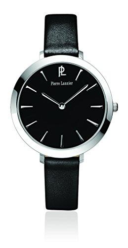 Pierre Lannier - 011H633 - Week-End Basic - Montre Femme - Quartz Analogique - Cadran Noir - Bracelet Cuir Noir