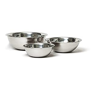 Vollrath Economy Mixing Bowl Set (1-1/2, 3 & 5-Quart, Stainless Steel) from Vollrath
