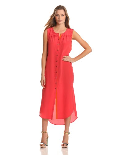 Twelfth Street by Cynthia Vincent Women's Maxi Shirt Dress, Watermelon/Orange, Large