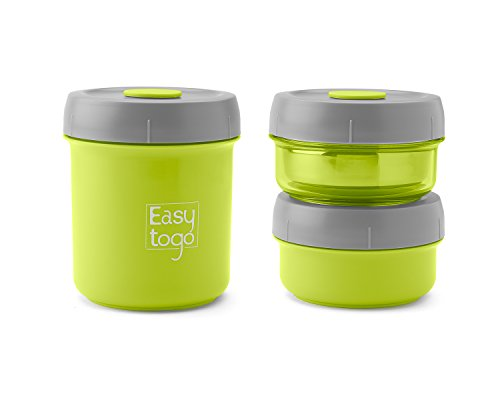 Twist Lock Lunch Box Set - 3 Pack -Airtight Nesting Stainless Steel Bento Food Containers for Men Women or Kids - BPA Free Pail for Work or Healthy School Lunches - Compact & Leak Proof (Green Bay Packer Crock Pot compare prices)