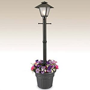 Cape Cod Plug-In Outdoor Post Lantern with Planter by Patio Living Concepts