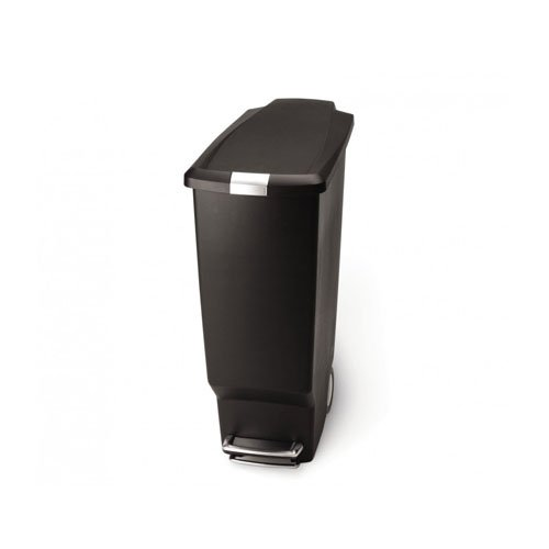 simplehuman Slim Plastic Step Trash Can, Black Plastic, 40 L / 10.6 Gal (Tall Kitchen Trash Can With Lid compare prices)