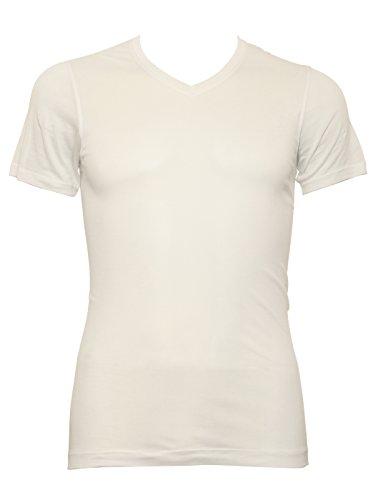 Aimer Men'S Comfortable Light And Rustles Touch V-Neck Short Sleeve T-Shirt L White