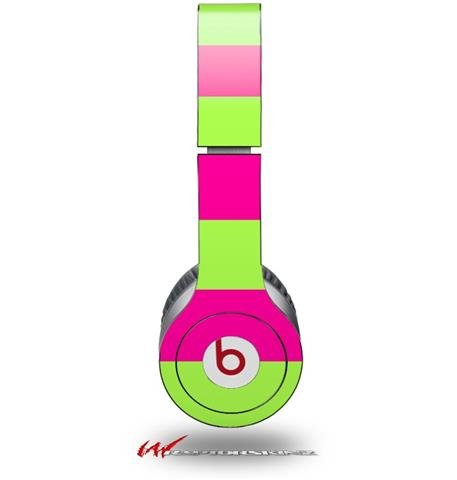 Kearas Psycho Stripes Neon Green And Hot Pink Decal Style Skin (Fits Genuine Beats Solo Hd Headphones - Headphones Not Included)