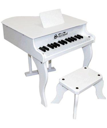 Schoenhut Fancy Baby Grand Piano- White