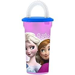 Home Disney Frozen Bicchiere con Cannuccia, Viola, 400 cc