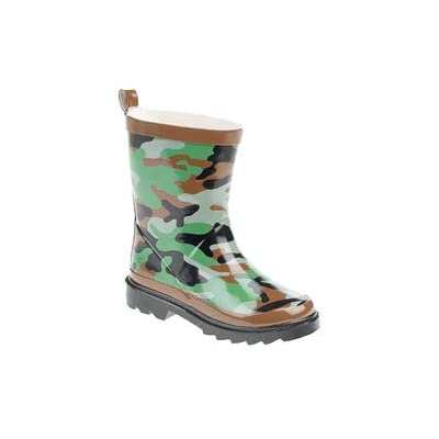 Boys Green Camouflage Wellies