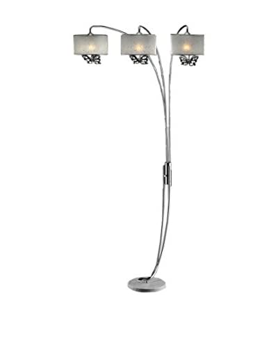 ORE International 85''H Hydra Butterfly Shade 3-Light Arch Lamp, White