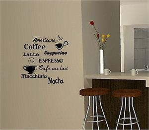 Online Design Coffee Wall Art Sticker Vinyl Quote Kitchen