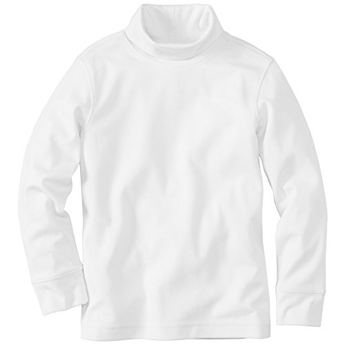 Hanna Andersson Little Girl Organic Cotton Turtleneck, Size 100 (4T), White front-1050680