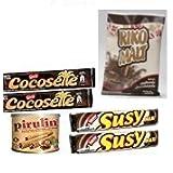 Combo pack chocolate: 1 Pirulin 300 gr + 1 Riko Malt 500 gr + 2 Cocosette 50 gr + 2 Susy 50 gr.
