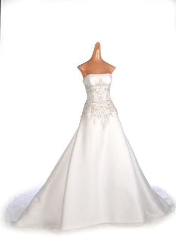 White Organza Strapless Wedding Gown