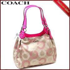 Coach Ashley Dotted OP Hobo Bag Khaki Fuchsia 21920