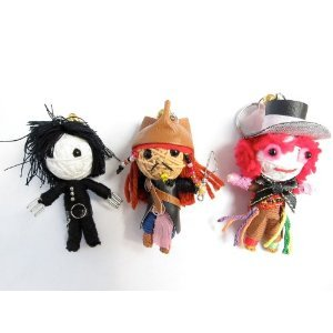 Johnny Depp Set 3 x Voodoo String Doll Keychain Jack Sparrow, Mad Hatter, Edward Scissor Hands