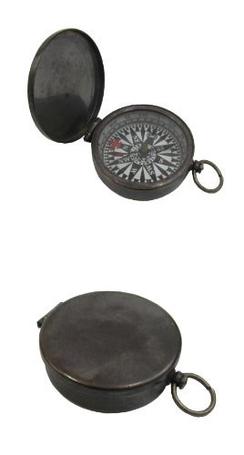 Brass Pocket Compass Lid and Antique Finish, Fleur-De-Lis On Dial - 1 3/4