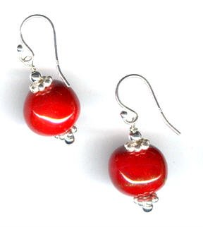 Kazuri Earrings - Candy Apple Red with Sterling