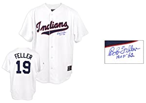 Majestic Bob Feller Cleveland Indians Autographed Jersey with