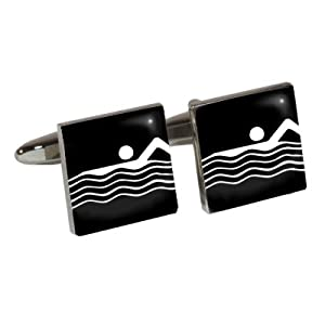Athletic Event Cufflinks with Swimming design