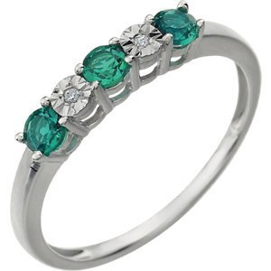 14kt White Created Emerald & .01 CTW Diamond Ring