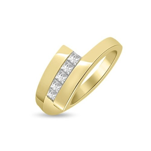 0.60 carat Diamond Half Eternity Ring for Women. H/SI1 Princess Cut Diamonds in Channel Setting in 18ct Yellow Gold