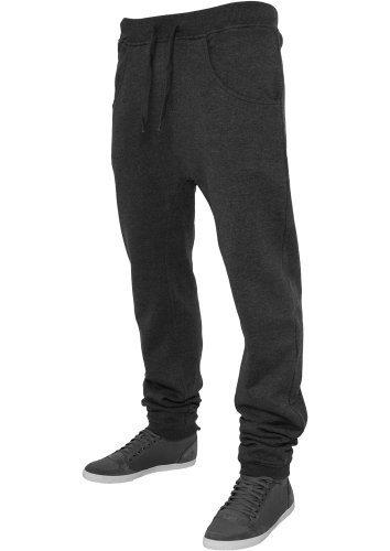 Urban Classics pantaloni da jogging da uomo Deep forcella pantaloni sportivi TB504 Regular Fit Grigio (Charcoal) X-Small