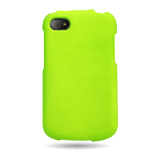 Coveron(Tm) Matte Snap-On Neon Green Rubberized Hard Case Cover For Blackberry Q10 Att / Verizon / Sprint With Pry-Triangle Case Removal Tool [Wcm511]