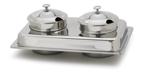 Royal Industries 2 Piece Soup Station Lid Set, mirror finish, 4 qt Inset, Stainless steel