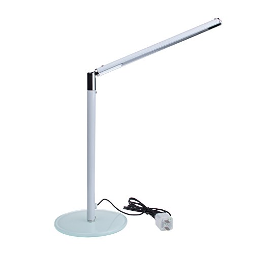 Lemonbest® Energy Saving Creative Led Desk Lamp Kids Student Usb Study Lamp Adjustable 24 Leds Reading Lamp Luxury Toughened Glass Base (White) front-449054