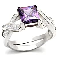 CZ Rings - Created Amethyst and Diamond Cubic Zirconia Ring - Size 5