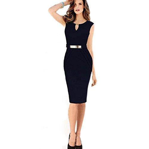 Aokdis Sexy Women Sleeveless Slim Fashion Bodycon Party Cocktail Dress (Xl, Black)